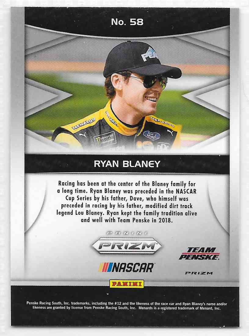 2018 Panini Camo Prizm Ryan Blaney #58 card back image