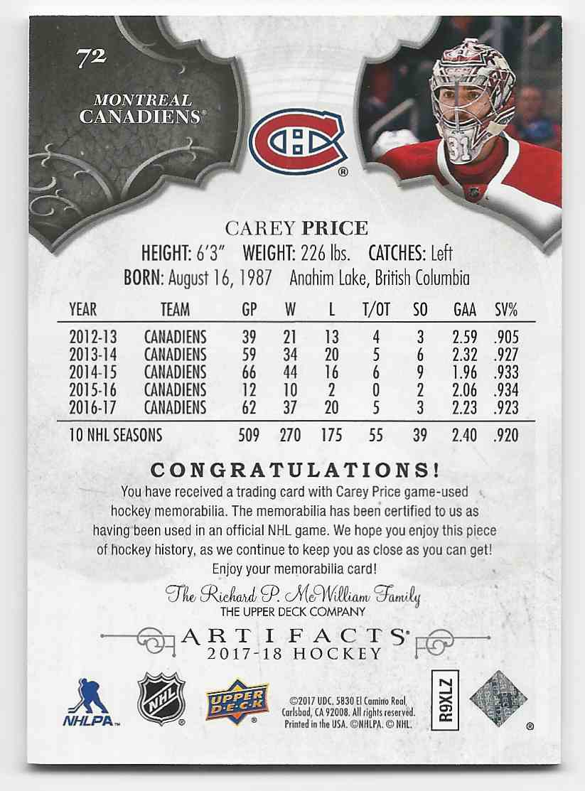 2017-18 Artifacts Materials Silver Carey Price #72 card back image