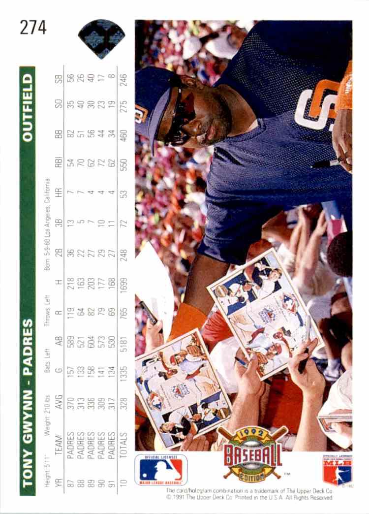 1992 Upper Deck Tony Gwynn #274 card back image