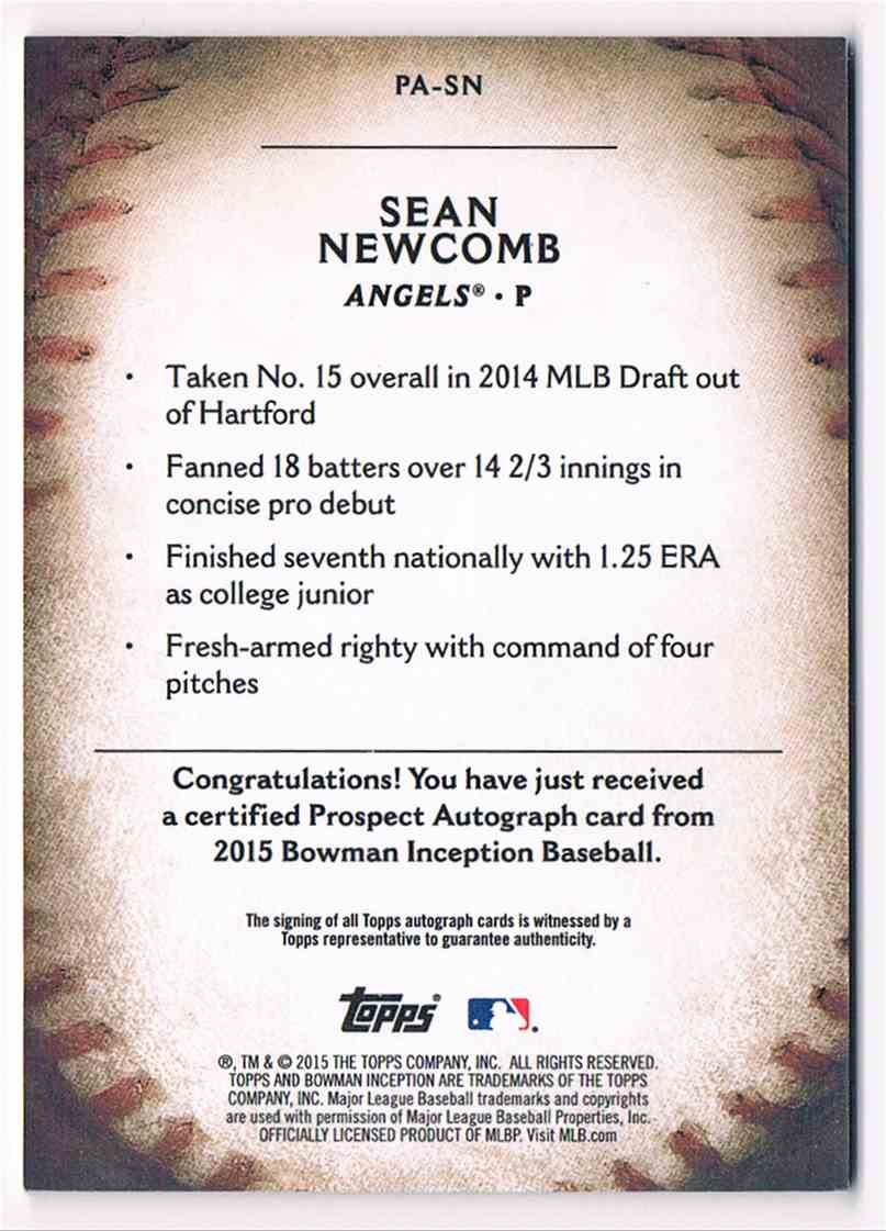 2015 Bowman Inception Sean Newcomb #PA-SN card back image