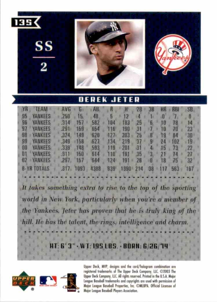 2003 Upper Deck MVP Derek Jeter #135 card back image