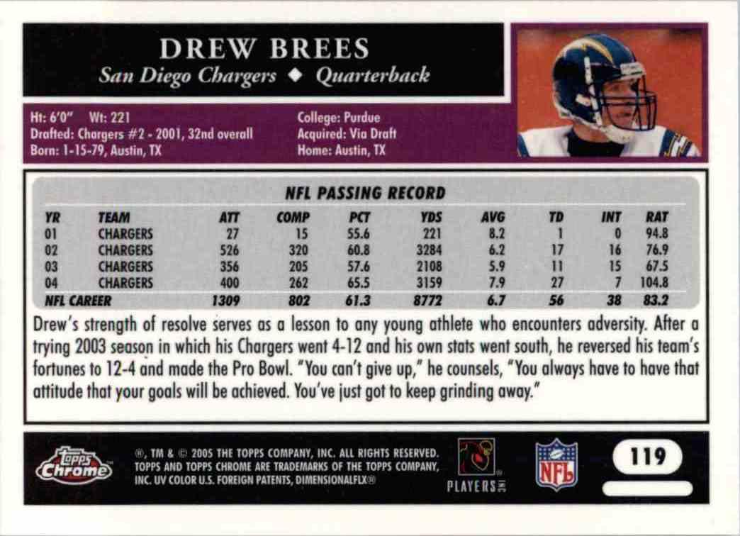 2005 Topps Chrome Drew Brees #119 card back image