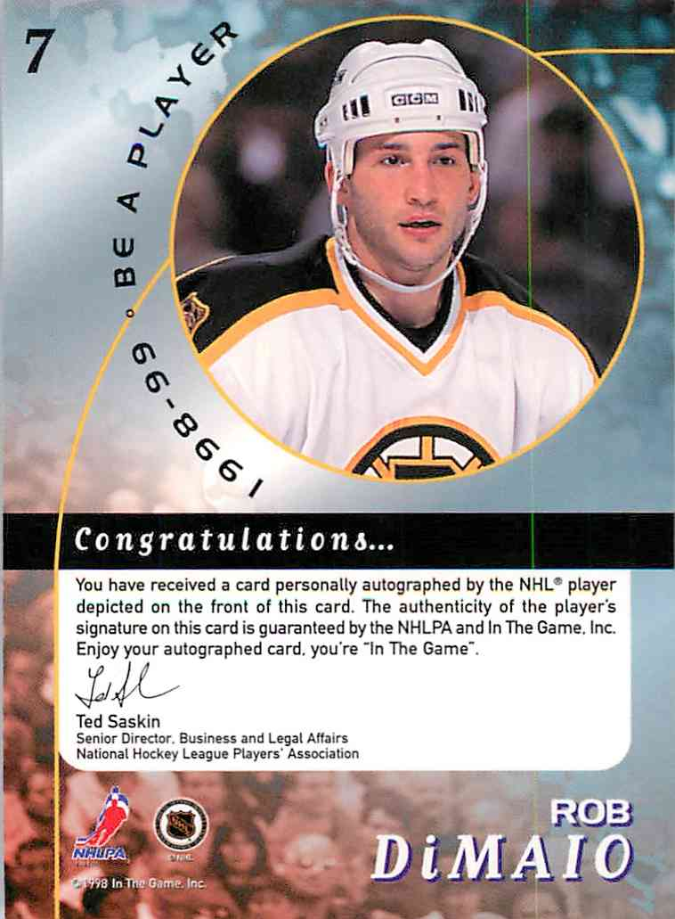 1998-99 In The Game Be A Player Rob Dimaio #7 card back image