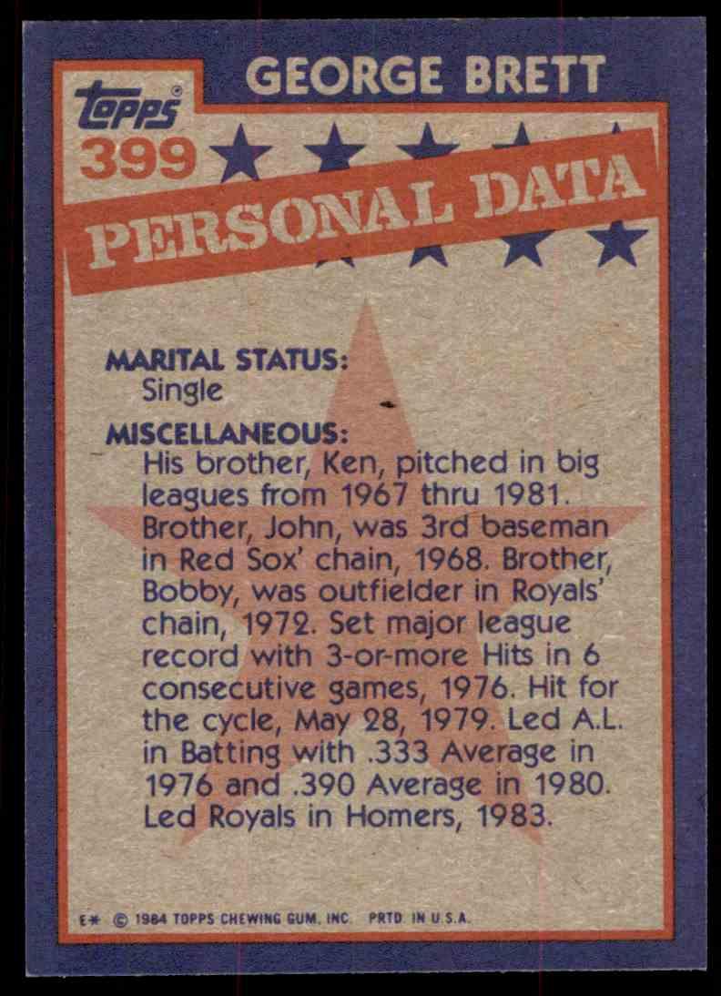 1984 Topps George Brett #399 card back image