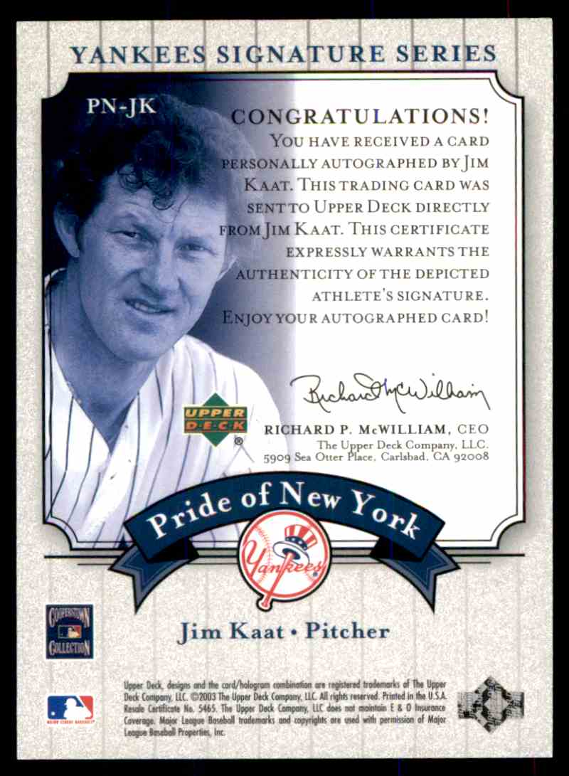2003 Upper Deck Yankees Siganture Series Jim Kaat card back image