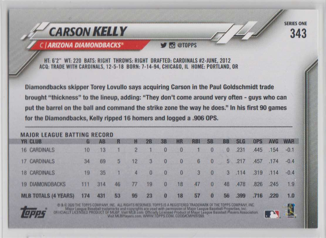2020 Topps Carson Kelly #343 card back image