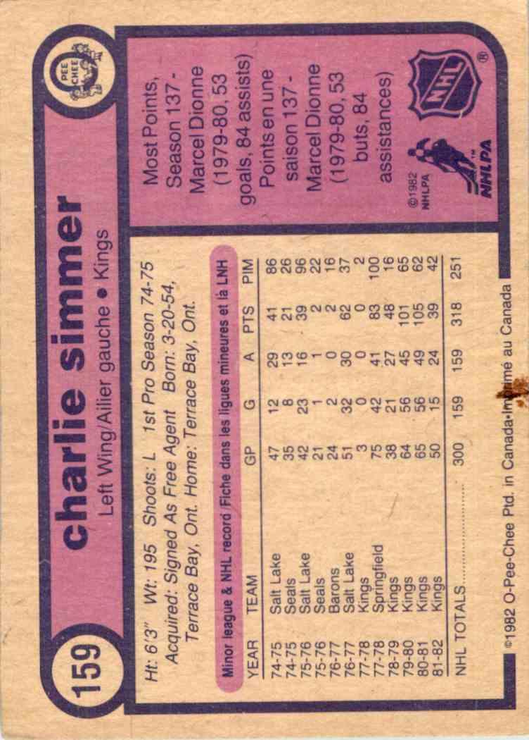 1982-83 O-Pee-Chee Charlie Simmer #159 card back image