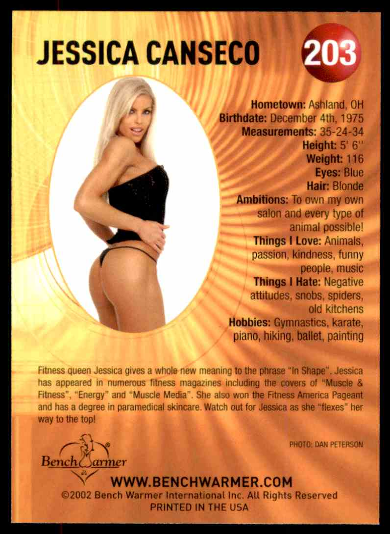 2002 Bench Warmer Jessica Canseco #203 card back image