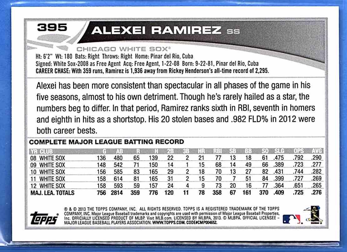 2013 Topps Alexei Ramirez #395 card back image