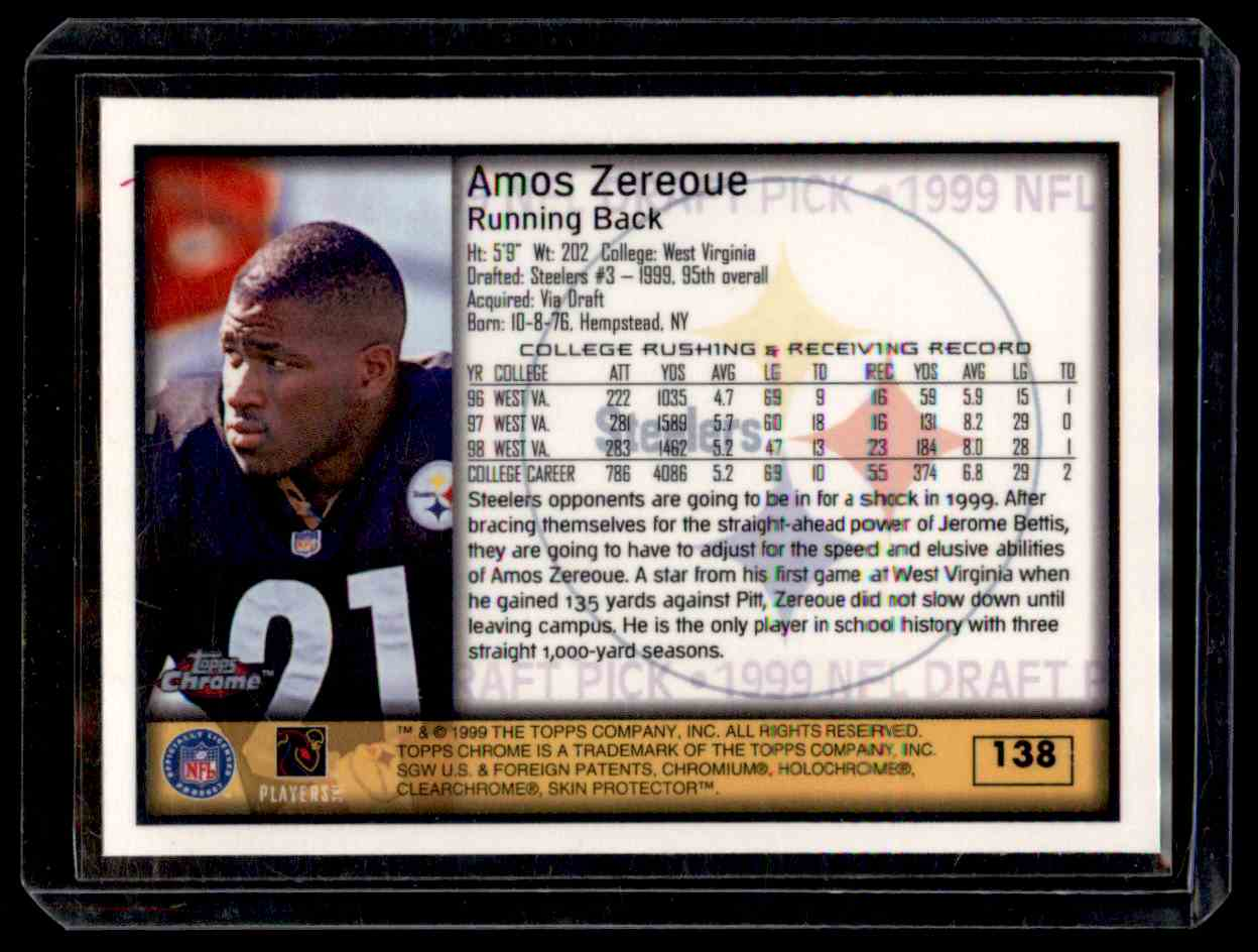 1999 Topps Chrome Amos Zereoue #138 card back image