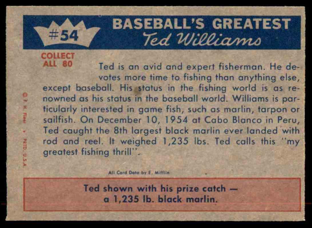 1959 Fleer Ted Williams Fisherman Ted Hooks... #54 card back image