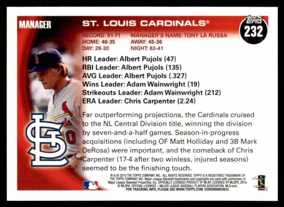 2010 Topps Cardinals Team #232 card back image