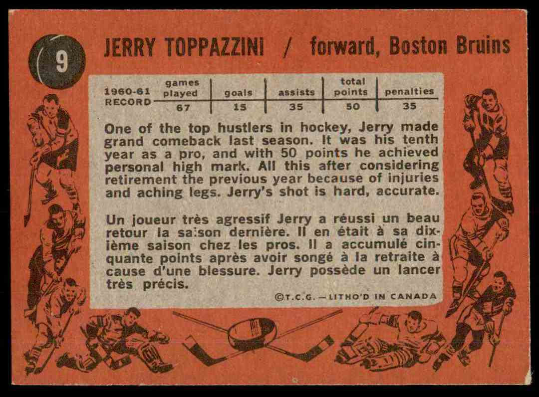 1961-62 Topps Jerry Toppazzini #9 card back image