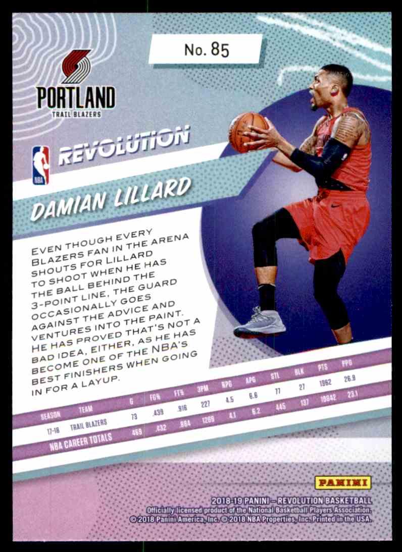 2018-19 Panini Revolution Base Damian Lillard #85 card back image