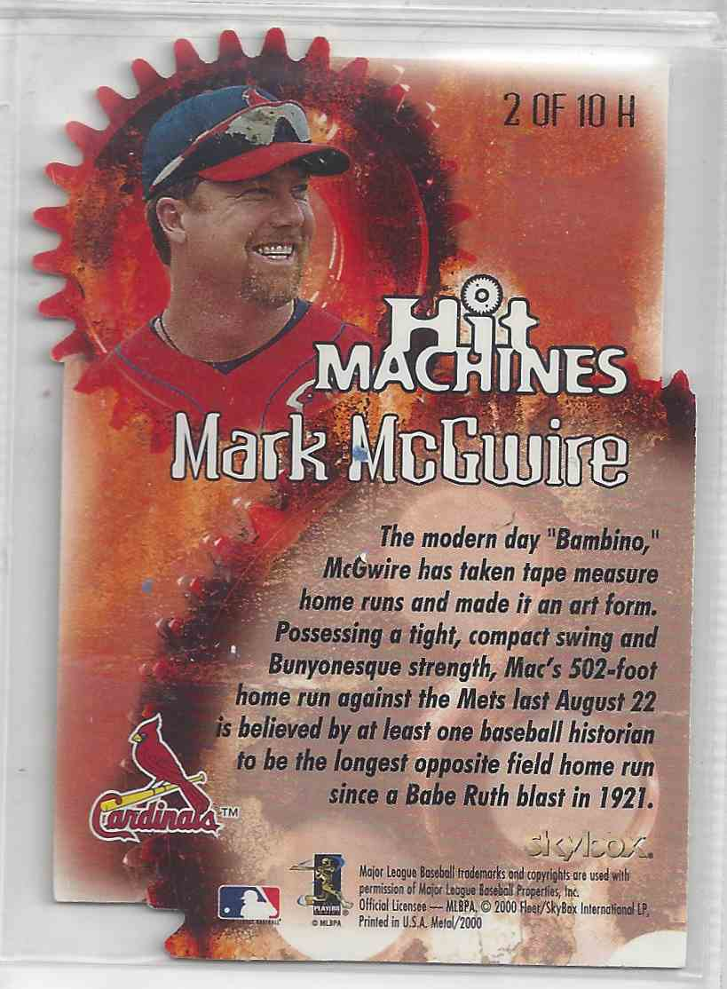 2000 Fleer / Skybox Hit Machines Die Cut Mark McGwire #HM 2 card back image