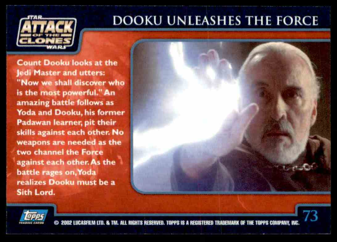 2002 Topps Star Wars Attack Of The Clones Dooku Unleashes The Force #73 card back image