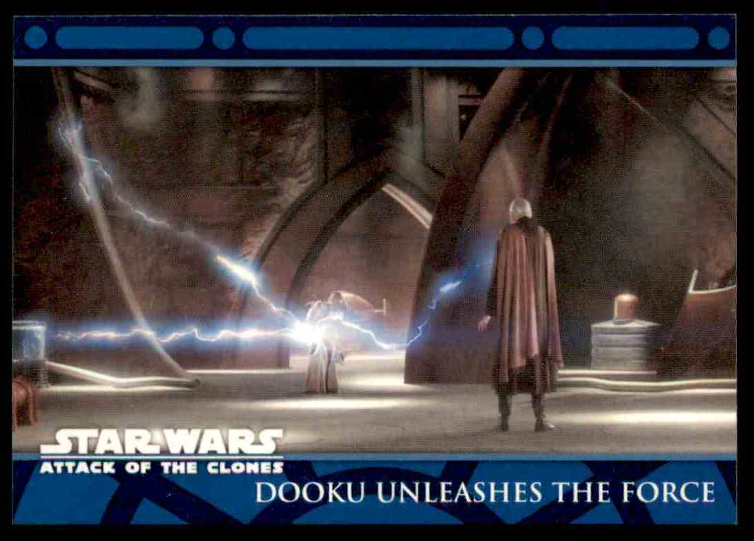 2002 Topps Star Wars Attack Of The Clones Dooku Unleashes The Force #73 card front image