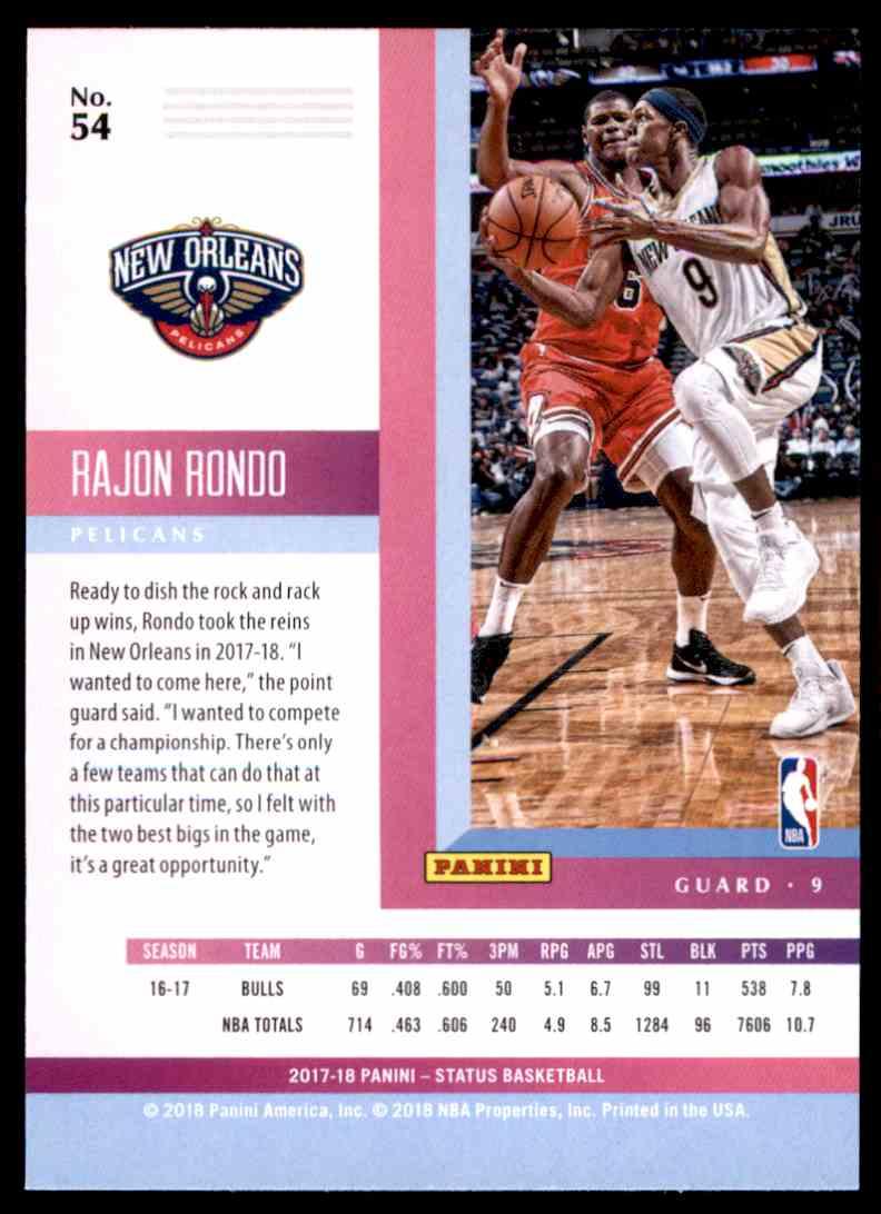 2017-18 Panini Status Rajon Rondo #54 card back image