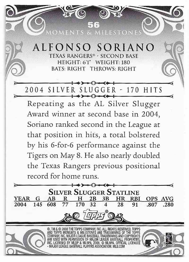 2008 Topps Moments & Milestones Alfonso Soriano #56-158 card back image