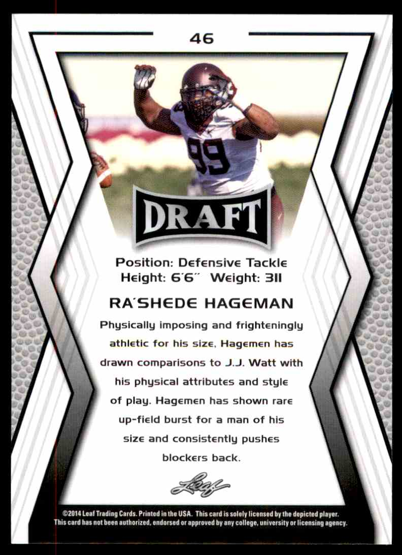 2014 Leaf Draft Shaquelle Evans #76 card back image