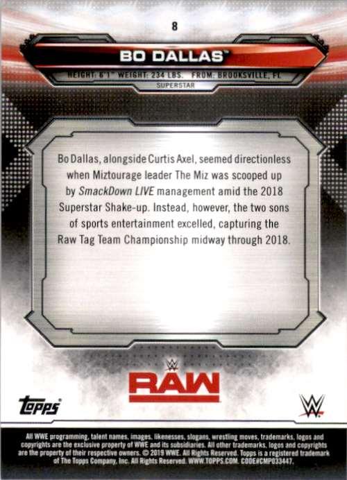 2019 Topps Wwe Raw Bo Dallas #8 card back image