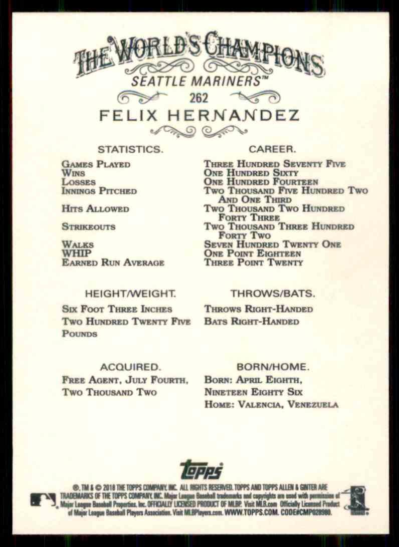 2018 Topps Allen & Ginter Felix Hernandez #262 card back image