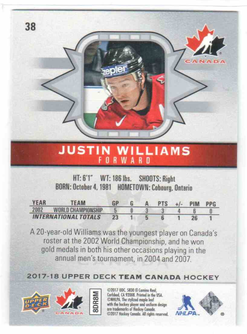 2017-18 Upper Deck Team Canada Canadian Tire Justin Williams #38 card back image