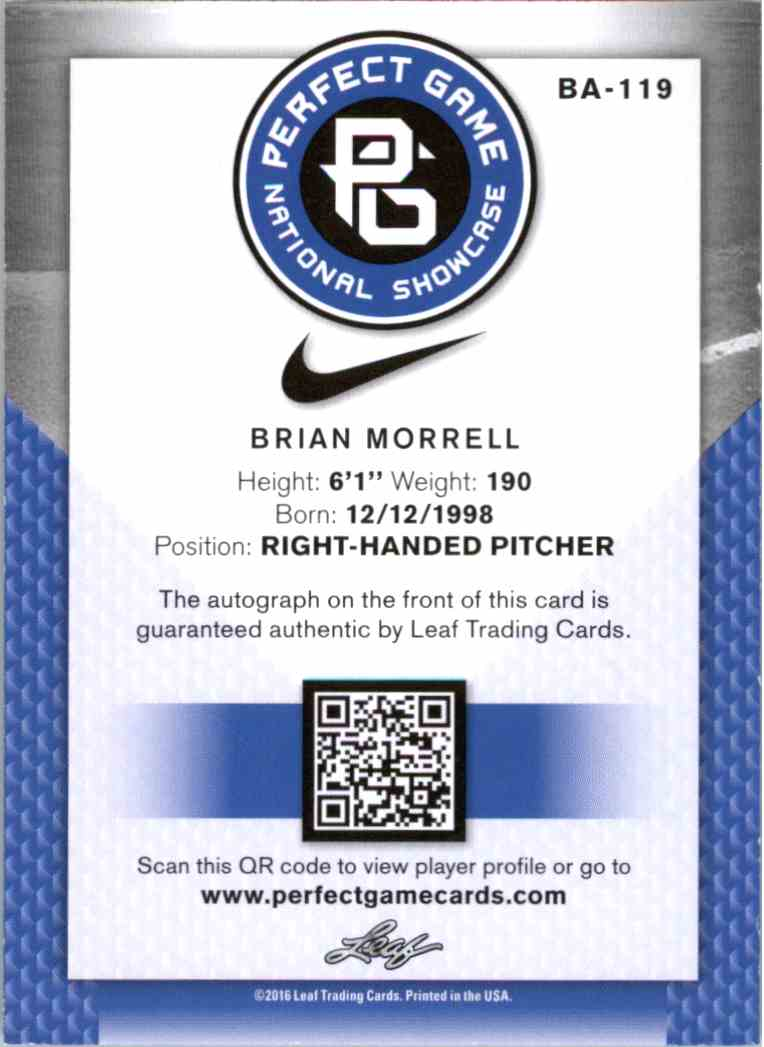 2016 Leaf Perfect Game Blue Brian Morrell #BA-119 card back image