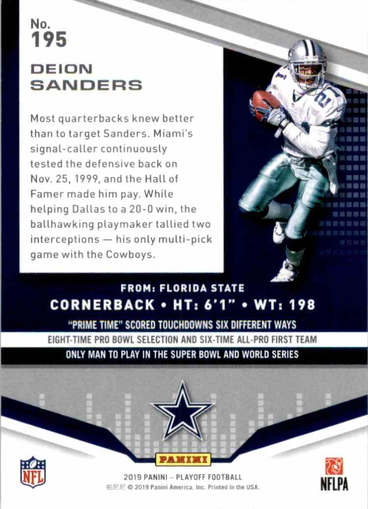 2019 Playoff Deion Sanders #195 card back image