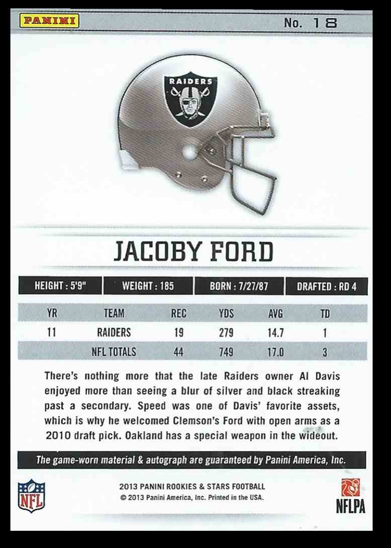 2013 Panini Rookies And Stars Longevity Jacoby Ford #18 card back image