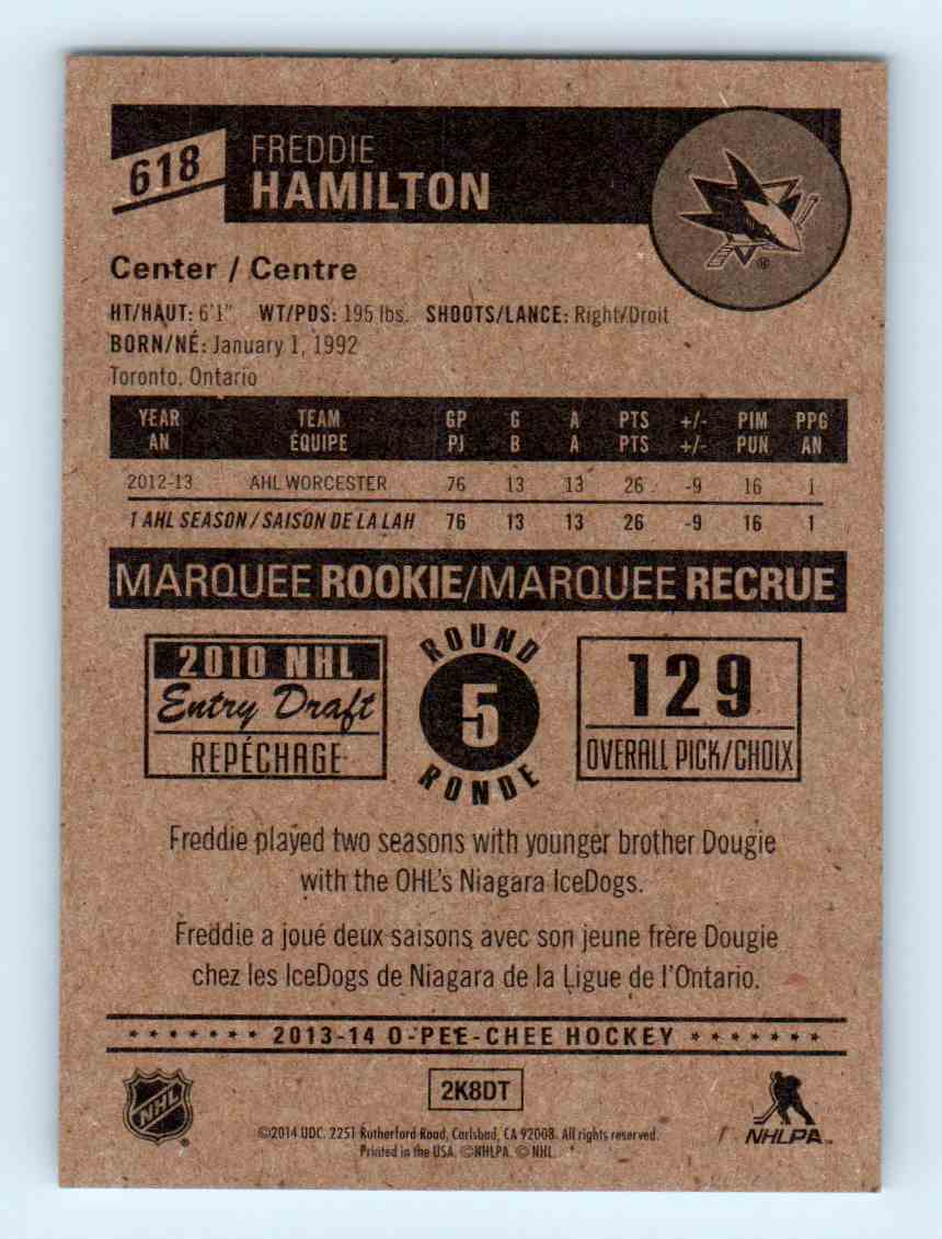 2013-14 O-Pee-Chee Marquee Rookies Freddie Hamilton #618 card back image