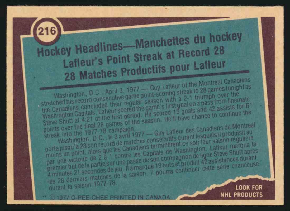 1977-78 O-Pee-Chee Guy Lafleur #216 card back image