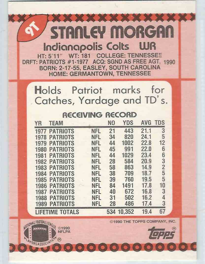 1990 Topps Traded Stanley Morgan #9T card back image