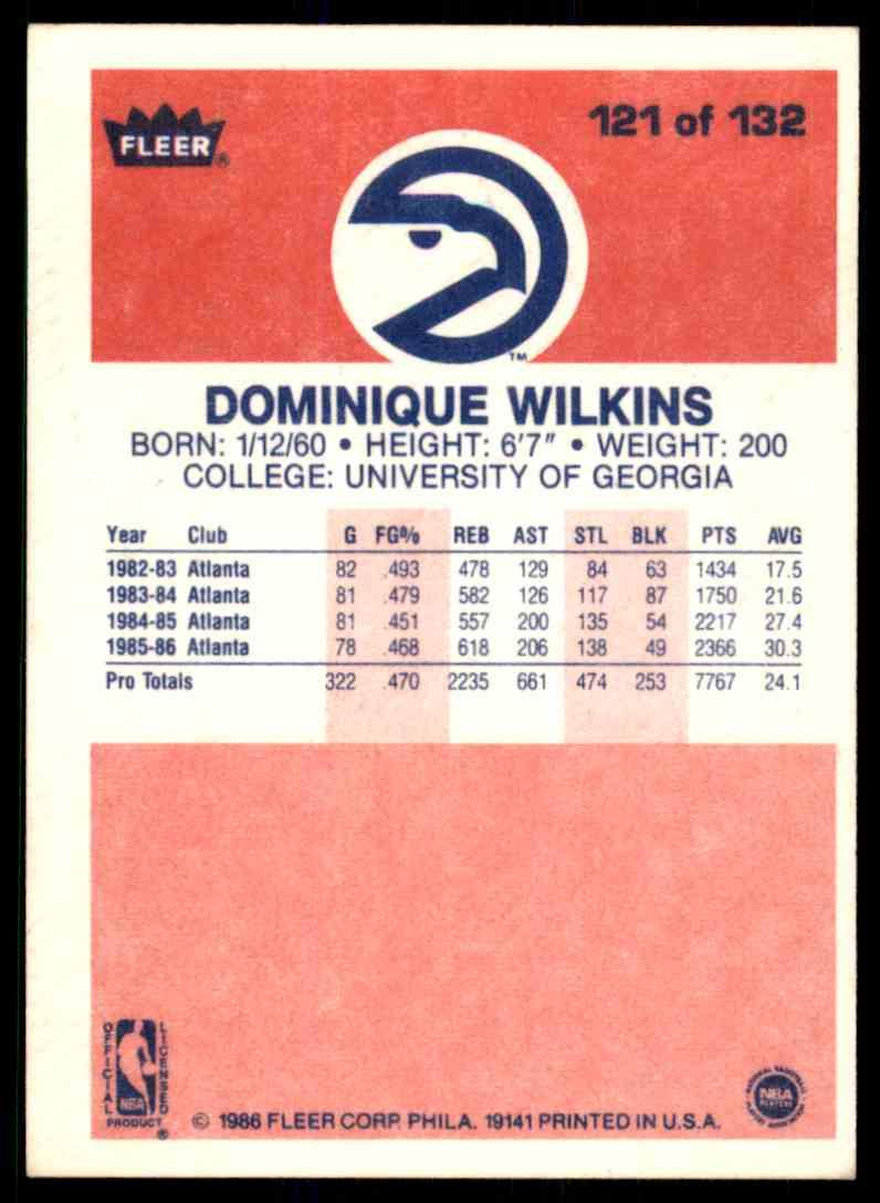 1986-87 Fleer Dominique Wilkins #121 OF 132 card back image