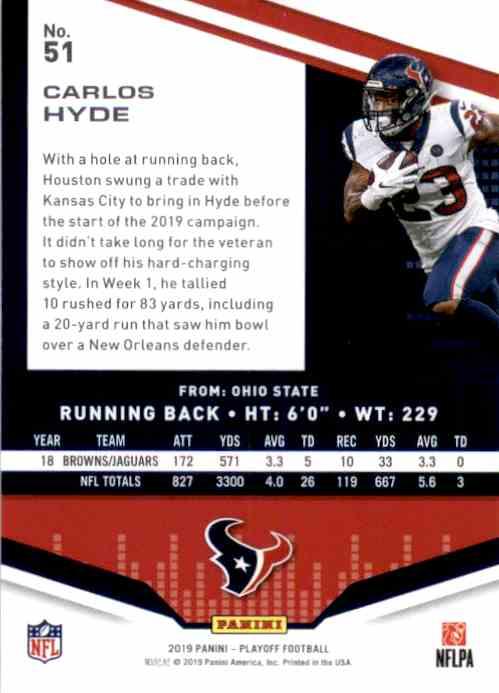 2019 Playoff Carlos Hyde #51 card back image