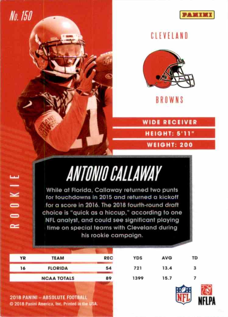 2018 Absolute Antonio Callaway RC #150 card back image