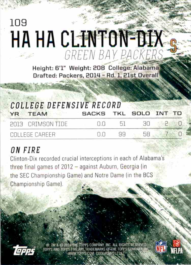 2014 Topps Fire Ha Ha Clinton-DIX RC #109 card back image