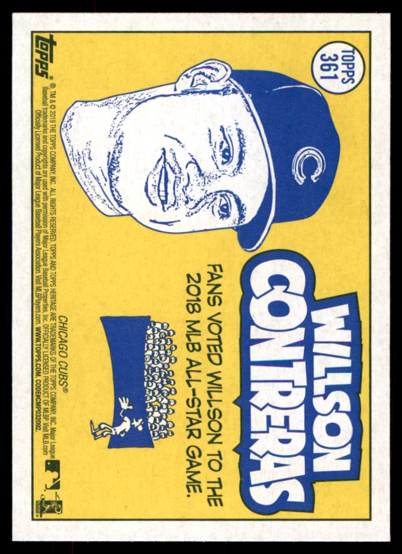 2019 Topps Heritage Willson Contreras #361 card back image