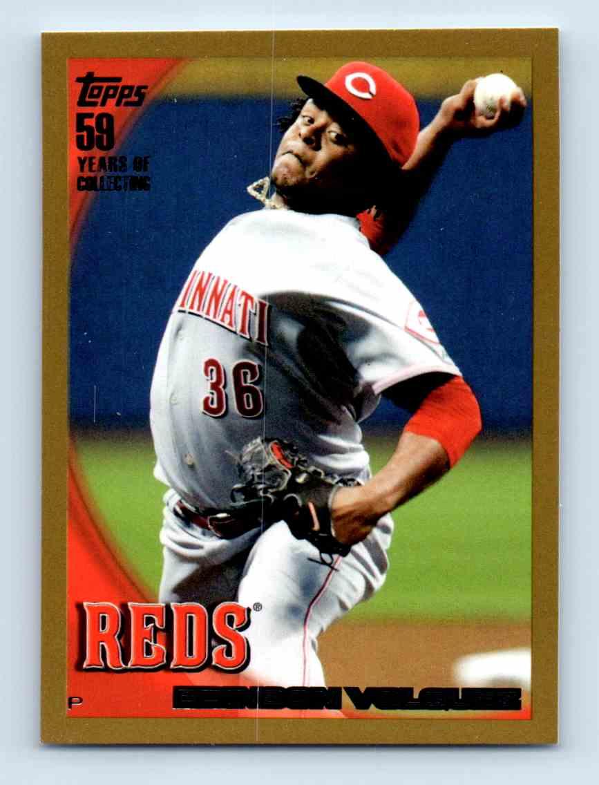 2010 Topps Gold Border Edinson Volquez #589 card front image