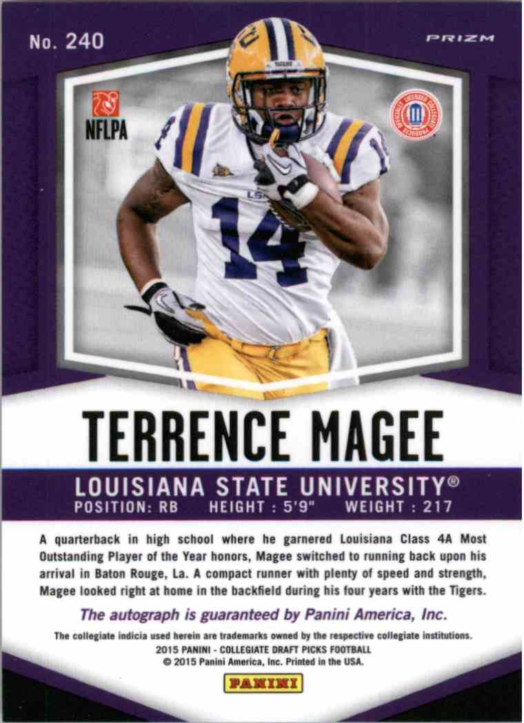 2015 Panini Prizm Collegiate Draft Purple Terrence Magee #240 card back image