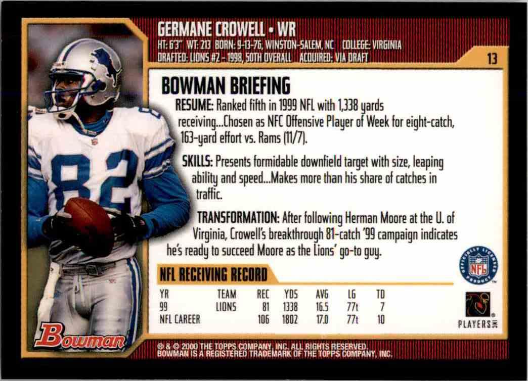 2000 Bowman Germane Crowell #13 card back image