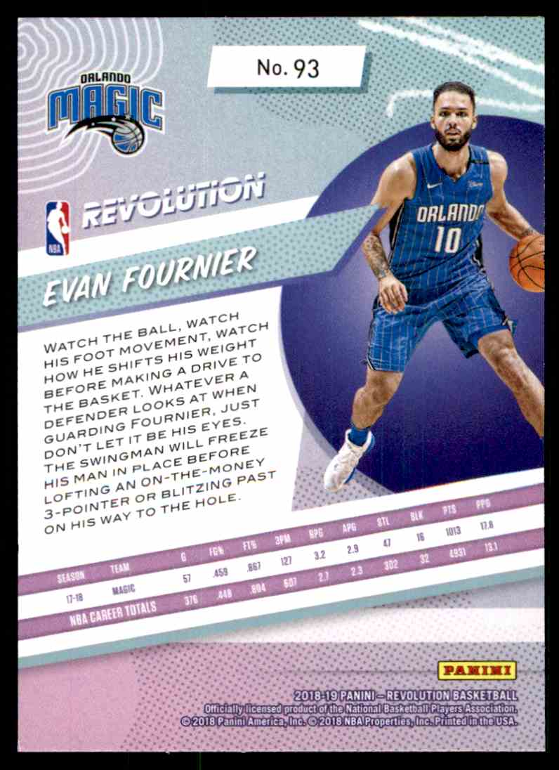 2018-19 Panini Revolution Base Evan Fournier #93 card back image