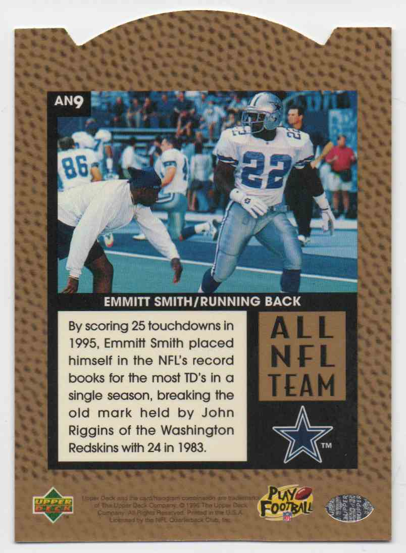 1996 Upper Deck All NFL Team Emmitt Smith #9 card back image