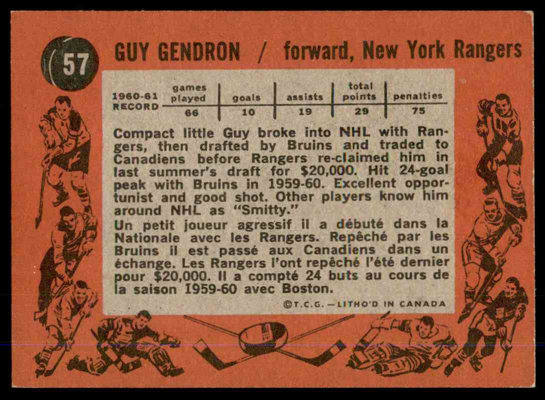 1961-62 Topps Guy Gendron #57 card back image