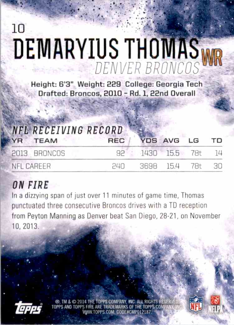 2014 Topps Fire Demaryius Thomas #10 card back image