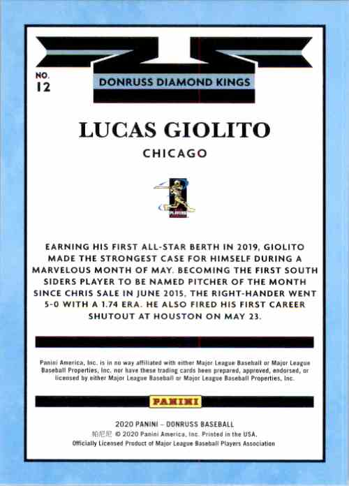 2020 Donruss Holo Orange Lucas Giolito Dk #12 card back image