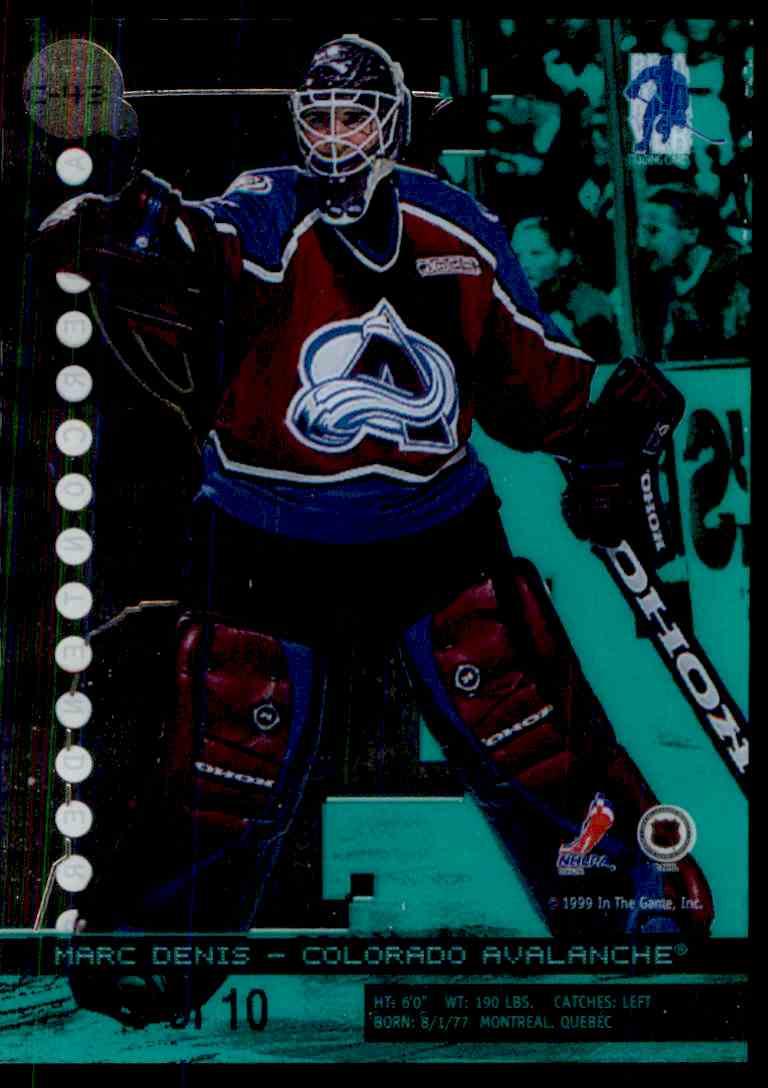 1999-00 Bap Millennium Calder Candidates Emerald Marc Denis #C43 card back image