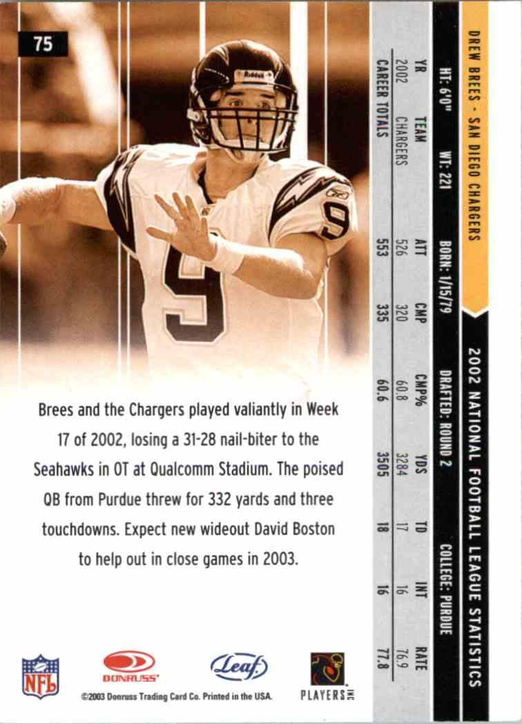 2003 Panini Rookies & Stars Drew Brees #75 card back image