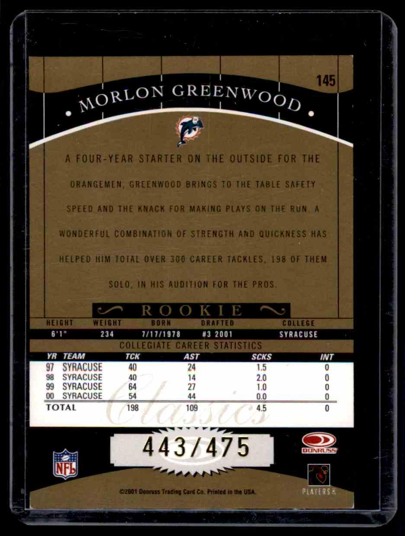 2001 Donruss Classics Morlon Greenwood #145 card back image
