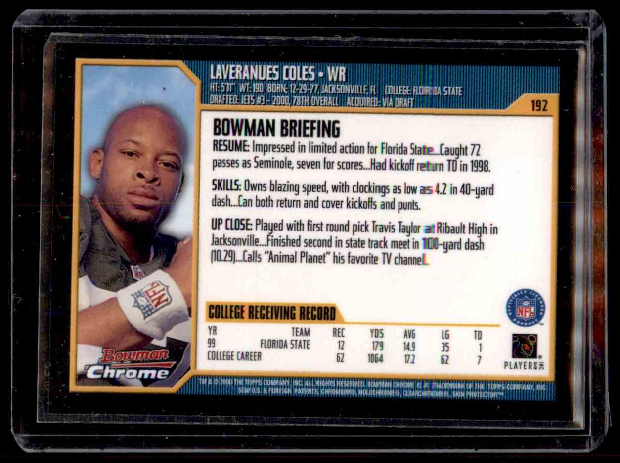 2000 Bowman Chrome Laveranues Coles #192 card back image